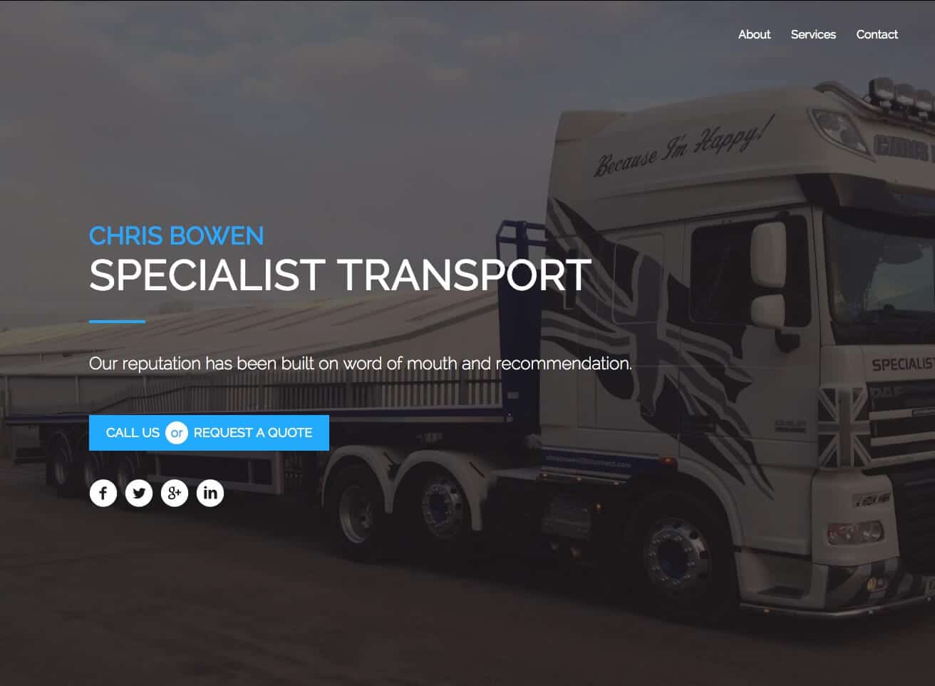 Chris Bowen Transport - HIBBSCO LTD Web Design